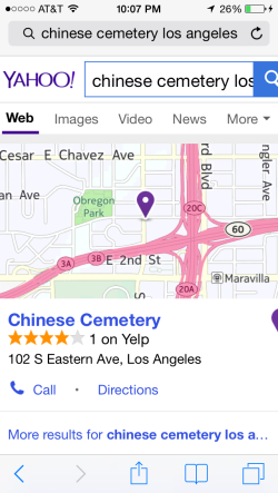 Yelp map of Chinese Cemetary